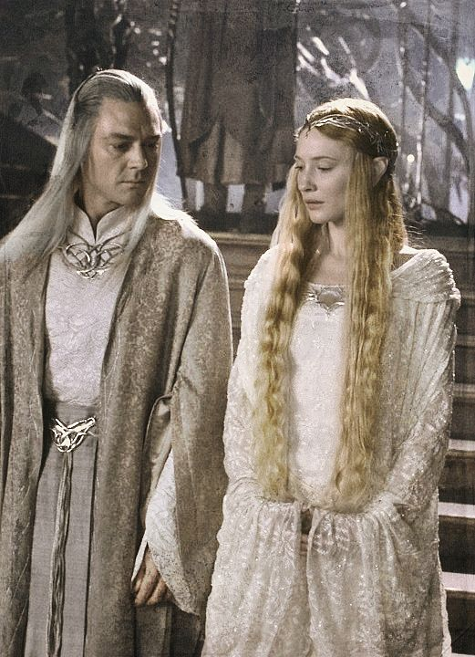 They were clad wholly in white; and the hair of the Lady was of deep gold, and the hair of the Lord Celeborn was of silver long and bright; but no sign of age was upon them, unless it were in the depths of their eyes; for these were keen as lances in the starlight, and yet profound, the wells of deep memory…