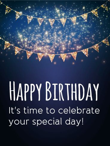 """It's Your Special Day! Happy Birthday Card. Grab your ribbons, hang your pendants, and get ready to celebrate! Show your birthday excitement by sending this birthday card to the special people in your life. The glittery pendants and bright sparkles bring a starry night sky to mind and set the mood for a fabulous celebration! This happy birthday card says """"Happy Birthday! It's time to celebrate your special day!"""" and shows how much you care!"""
