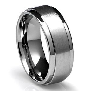 modern mens wedding band 8mm mens titanium ring wedding band with flat brushed top and - Mens Platinum Wedding Ring