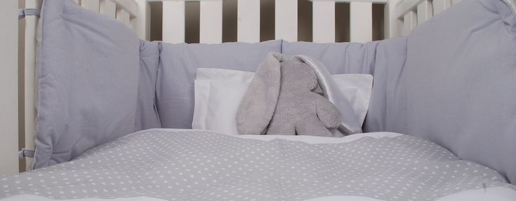Grey Baby Spots cot linen range from www.tomandbella.co.za