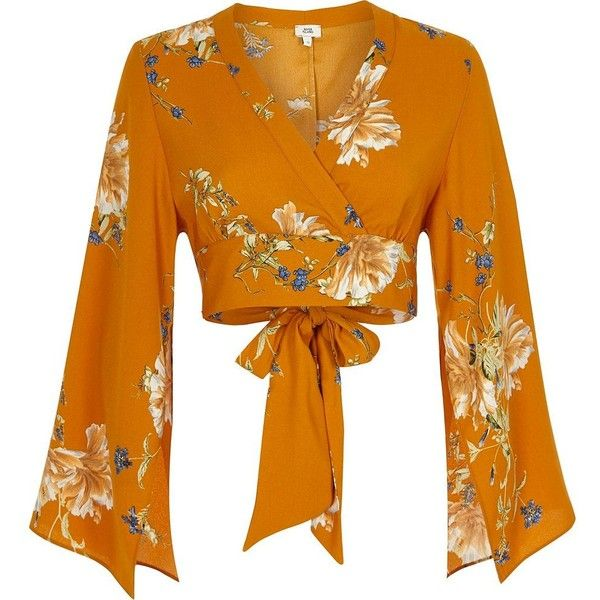 River Island Orange floral wrap kimono sleeve crop top ($64) ❤ liked on Polyvore featuring tops, crop tops, shirts, crop tops / bralets, orange, women, wrap crop top, floral tops, neck ties and long tops