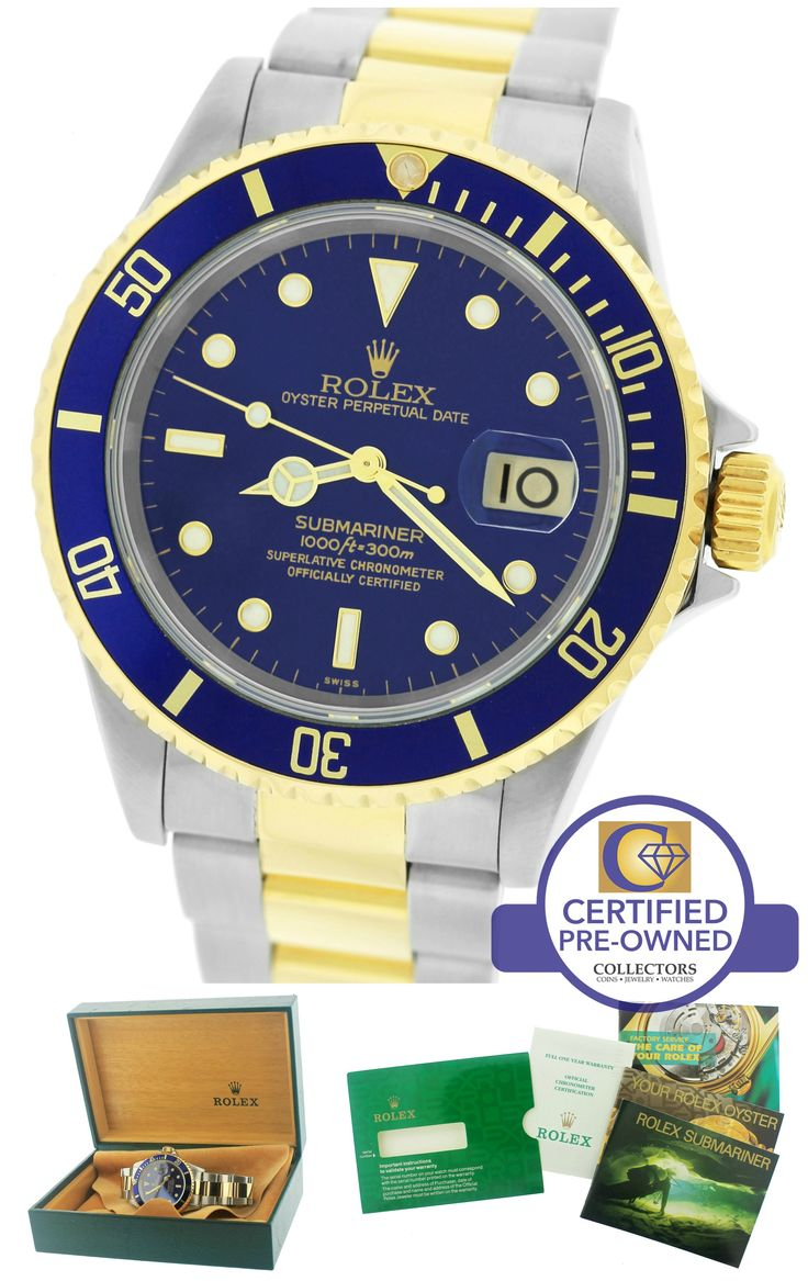 1999 Rolex Submariner Date 16613 A Two-Tone Gold Stainless Blue 40mm Dive Watch