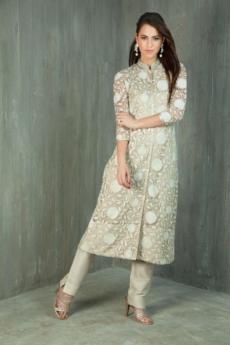 Net Kurta embellished with thread and zardozi work with straight pants