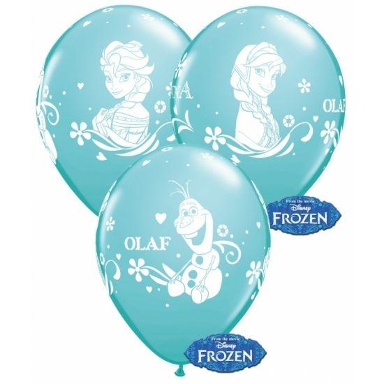 Blauwe Frozen ballonnen 6 stuks. 6 stuks blauwe ballonnen met Frozen opdruk van Elsa, Anna en Olaf. De ballonnen zijn van latex en hebben een formaat van ongeveer 30 cm (opgeblazen).