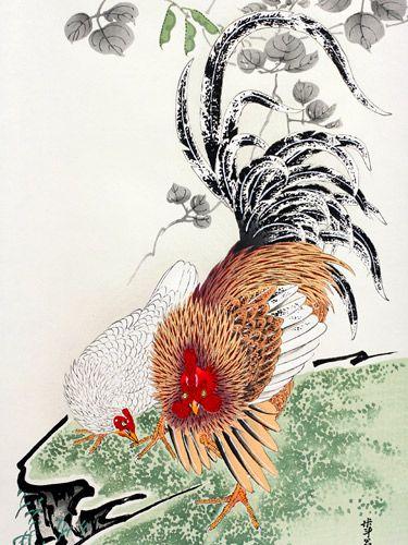 『豆花双鶏図』-木版画掛け軸-伊藤若冲 Jakuchu Ito