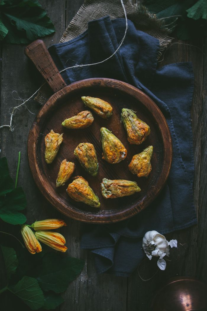 Zucchini & Ricotta Stuffed Squash Blossoms