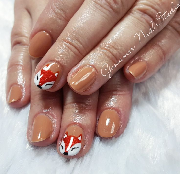 CND Shellac Nail Art by Gossamer Nail Studio, cocoa, tan, brown, fall, fox, foxes