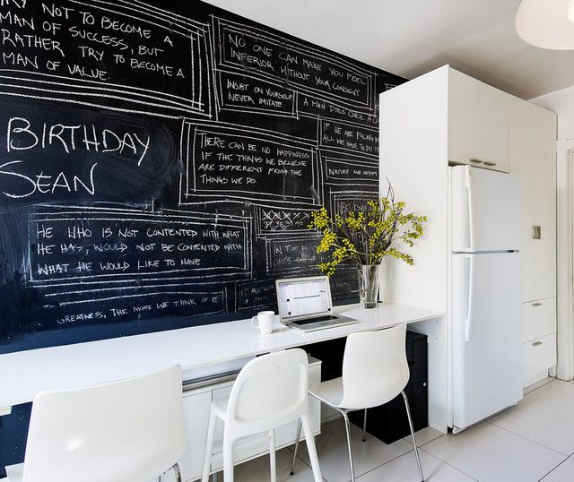 Homeworks Interior Design: Giant Chalkboard And Office Supply Storage Area Next To
