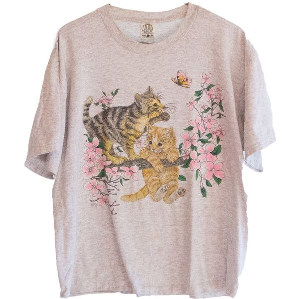 1993 Vintage Cute Kittens in Cherry Blossom Tree T-shirt (79 BRL) ❤ liked on Polyvore featuring tops, t-shirts, shirts, t shirts, pink tee, pink shirts, vintage tees, pink t shirt and pink checkered shirt