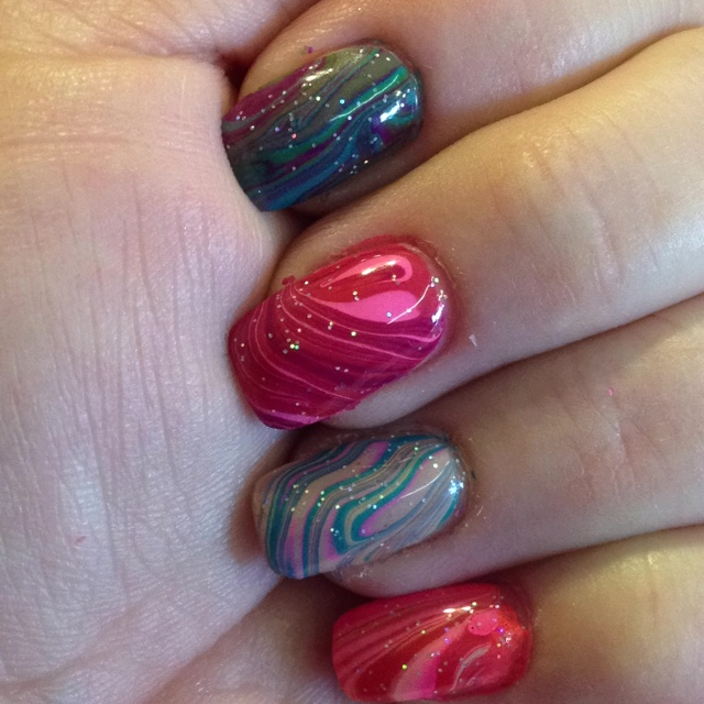 Water-Marble Nails by Jessica