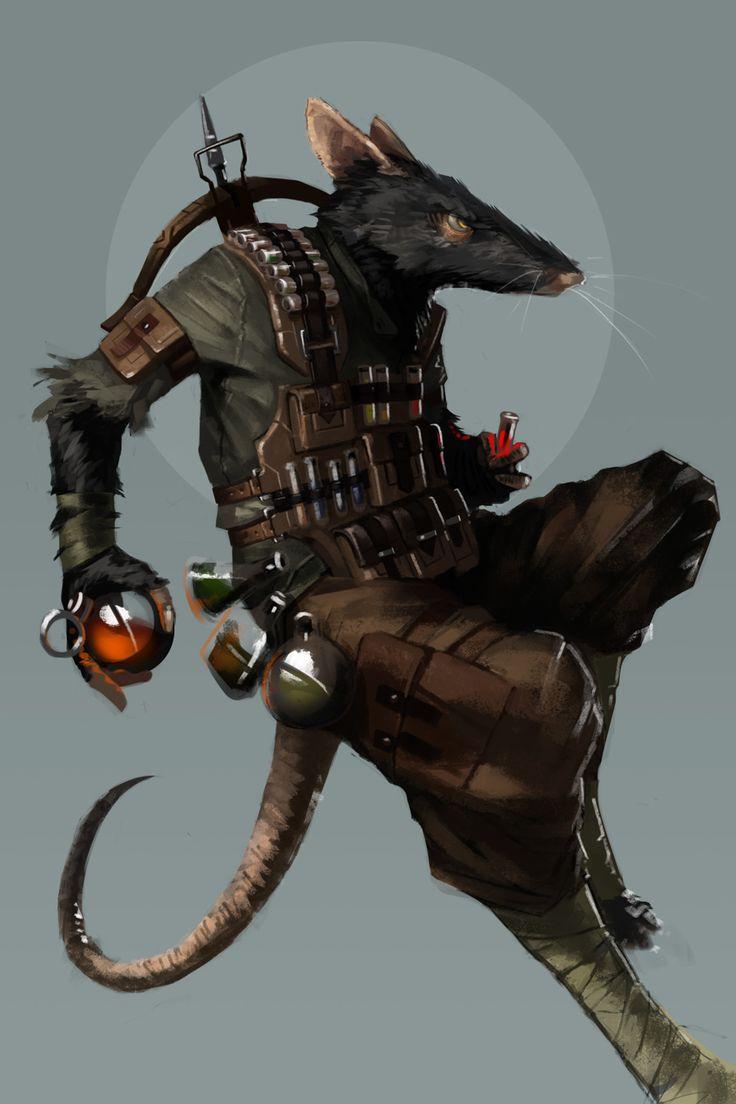 A Ratfolk Alchemist a player had commissioned for a game I ran #ratfolk #ratkin