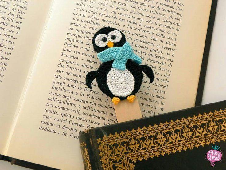 Segnalibro fatto a mano all'uncinetto :-) Pinguino - crochet handmade bookmark :-) - pinguin #pingui #bookmark #handmade #crochet