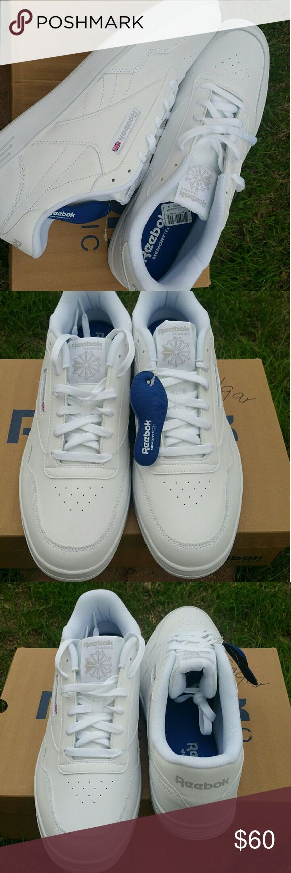 Men's White Reebok Brand new. Never worn  Perfect Condition Men's Size 14 Reebok Sneakers. Featuring Comfort Memory Tech Premium Comfort Footbed. For That Walking On Clouds Feel.   *Tiny Smudge On Edge Of Shoe *Box Has Name Written On It. Reebok Shoes Sneakers