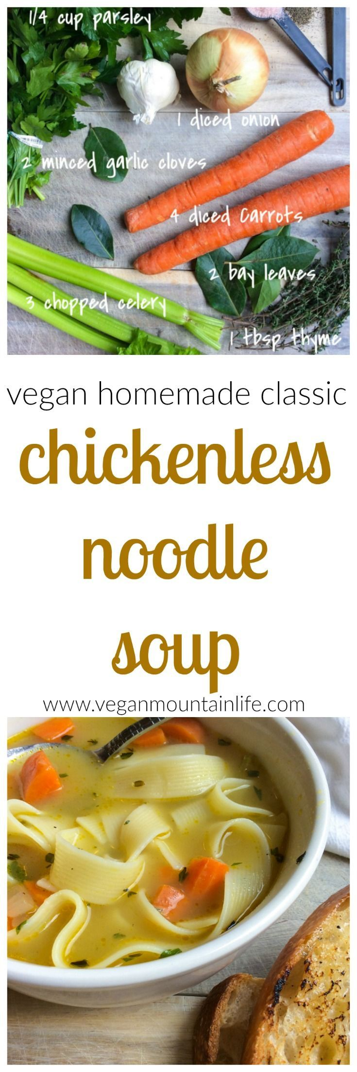 Easy, healthy, classic homemade vegan chicken noodle soup!