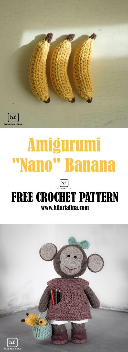 "Amigurumi ""Nano"" Banana - Free Patter (Spanish & English) #crochet #amigurumi"