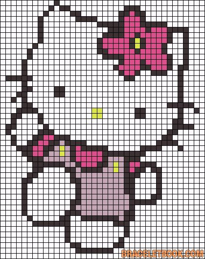 Hello Kitty flower perler bead pattern..could also use as a latch hook rug pattern