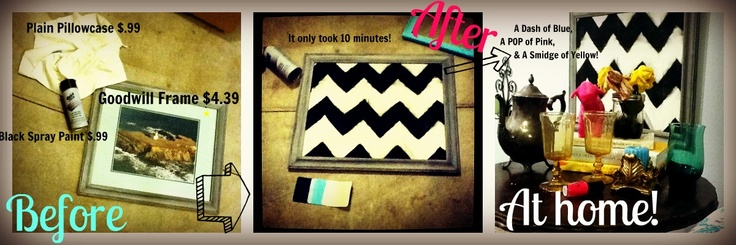 I repurposed an old frame and picture from goodwill, with a homemade cardboard stencil, a 99 cent thrift store pillowcase (or half of one, I should say) and some cheap spray paint from Home Depot, I got a #cute #trendy #chevronstripe #pictureframe for my room! :) Love those #chevron patterns in #blackandwhite right now