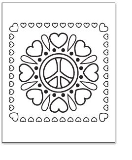 Printable Coloring Pages Peace Hearts | ... printable pdf of the hearts flower peace sign coloring page peace of