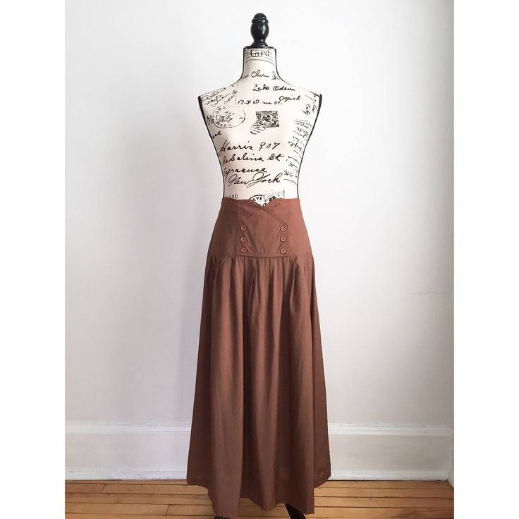 1980s Long Brown Skirt, Vintage Long Brown Skirt by VicFoundThis on Etsy https://www.etsy.com/listing/522861117/1980s-long-brown-skirt-vintage-long