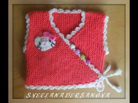 Жилет-распашонка для малыша спицами.Knitted vest for the baby - YouTube