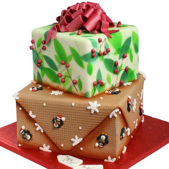 Christmas Present Cake - To view the tutorial, please visit http://www.craftcompany.co.uk/christmas-present-cake.html