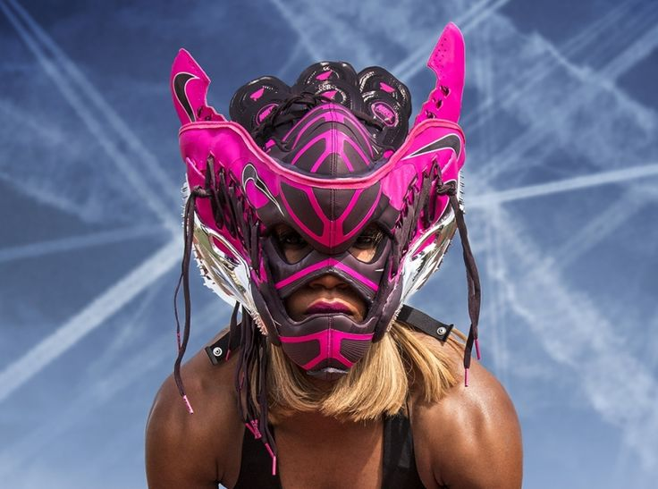freehand profit sneaker mask nike superfly r4 01 Freehand Profit Creates Sneaker Mask for Carmelita Jeter, Worlds Fastest Woman