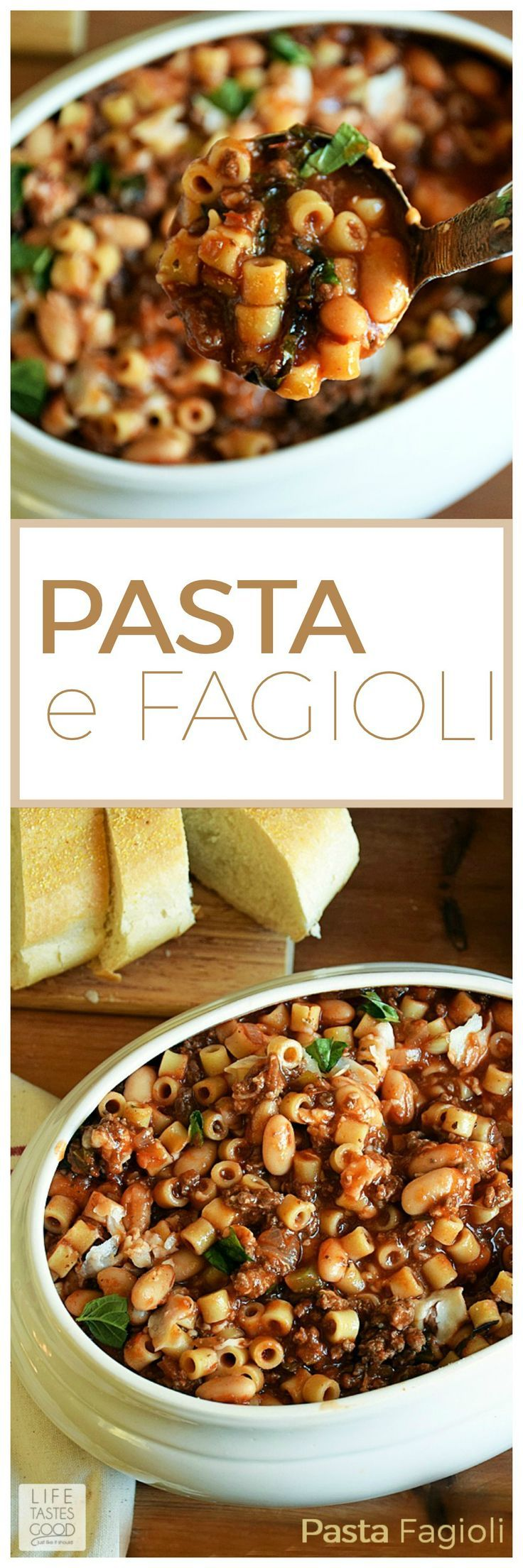 Pasta e Fagioli | by Life Tastes Good is a very hearty and satisfying soup that fills you up and warms you through and through. We enjoy this as an entree with freshly grated Parmesan cheese on top and some crusty french bread for wiping the bowl clean! #SoupRecipes #PastaRecipes #ItalianRecipes