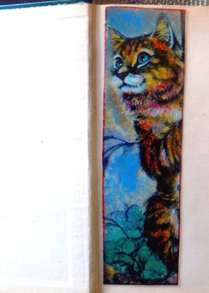 WICOART MARQUE PAGE EFFET FAUX STAINED GLASS PEINT MAIN CHAT GRIMPEUR CAT
