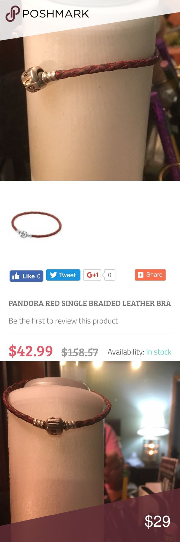 Pandora rope bracelet This Pandora bracelet is red leather (used) it is 6 1/2 inches in length Pandora Jewelry Bracelets