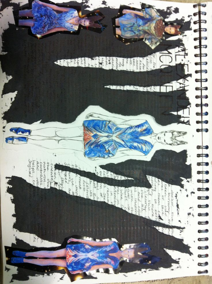 A level fashion sketchbook, Alexander McQueen page