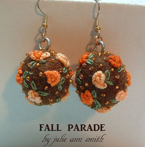 Julie Ann Smith Designs FALL PARADE Beaded Embroidered Felt Ball Wool Earrings