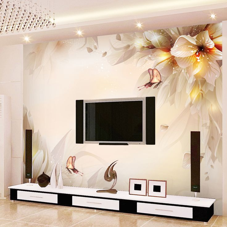 Chinese Style Flowers Butterfly Mural Wall Painting Modern Simple Living  Room TV Sofa Backdrop Wall Home Decor Wallpaper Roll