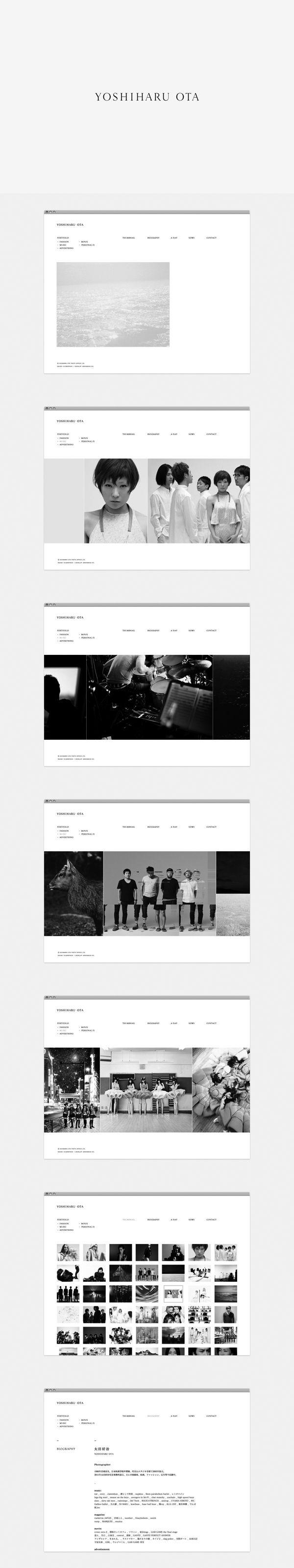 ≪写真家 太田好治のためのウェブサイト≫ Website for YOSHIHARU OTA Photographer | Yoshiharu Ota 2011年 / Logotype, Website — ArtDirection: Munehiro Machida (NSSGRAPHICA) Develop: Yoshiaki Fujimori (GRANDBASE inc.) Gestaltung: Makoto Kamimura  (c) Yoshiharu Ota.