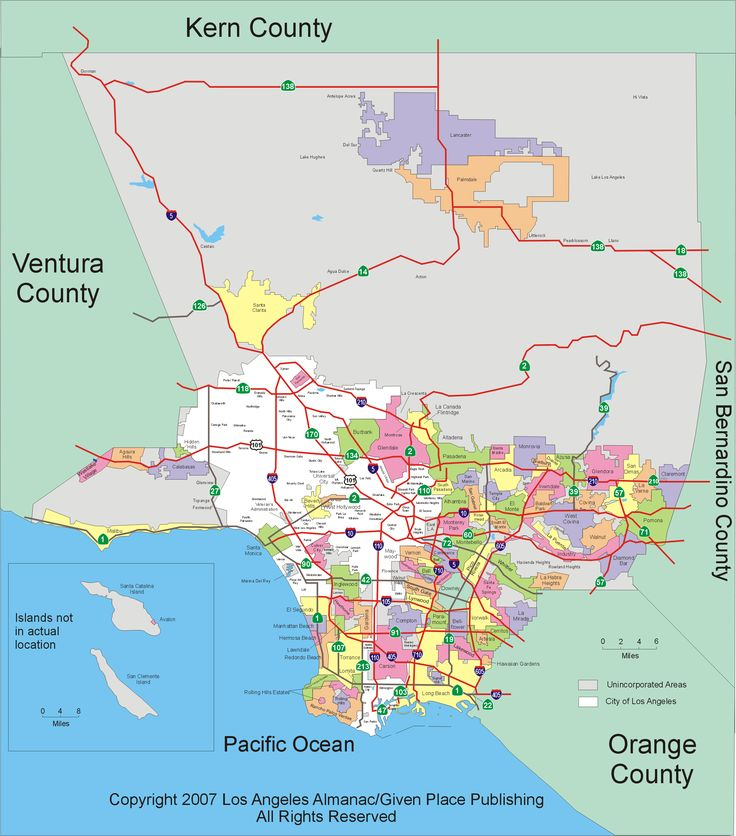 Larger Detailed Map Of Los Angeles County Maps Pinterest: Los Angeles City Limits Map At Slyspyder.com