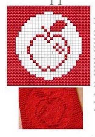 Apple Knit Dishcloths Pattern