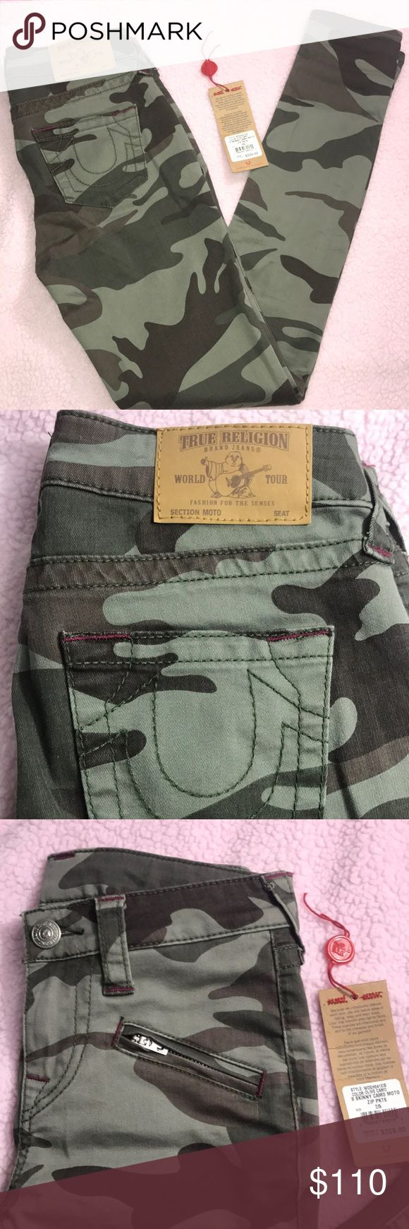 True Religion Camo skinny pants NWT True Religion Skinny mid rise moto pants, with zipper pockets. only tried on. never worn, PERFECT condition. True Religion Pants Skinny