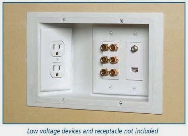 Recess outlets in walls to allow for furniture to be flush against the wall.