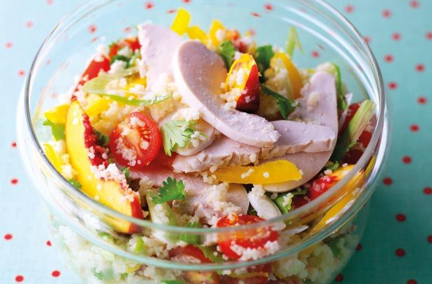 You might think the peach is a weird addition to this couscous salad but it brings a wonderfully fruity flavour. Filling and under 300 cals, this salad is a healthy lunch option