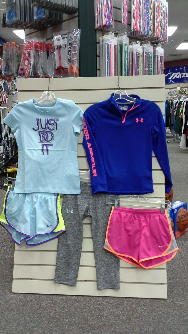 Youth girls' Nike and Under Armour clothing, girls' Nike shorts, girls' Nike shirt, girls' Nike pullover