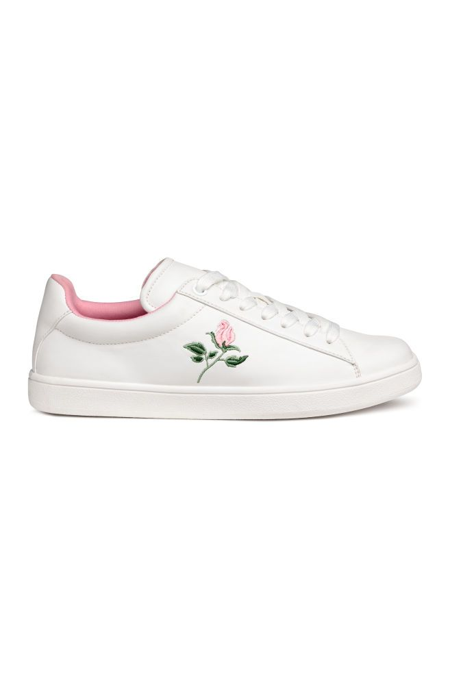 Trainers with embroidery - White/Rose - Ladies | H&M GB 1