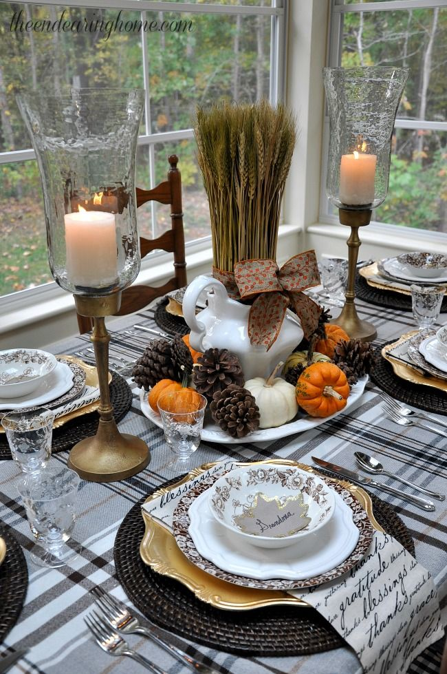 really cute and cozy table scape.  ikea blanket used as cover and napkins from pier one.