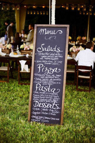 Chalkboard menu idea that I suggested-way to save money and no have to print individual menus for each plate