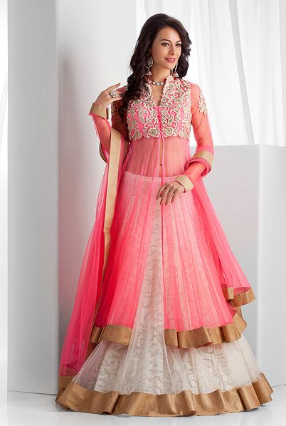 Gorgeous #Lehenga w/ Long Jacket from http://www.BenzerWorld.com/ 2014 Collection http://www.pinterest.com/benzerworld/collection-2014-women/