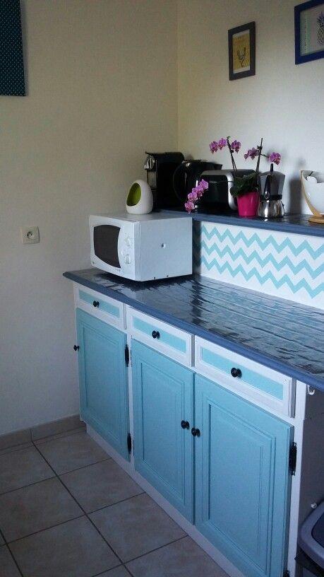 Renovation meuble - peinture - chevron