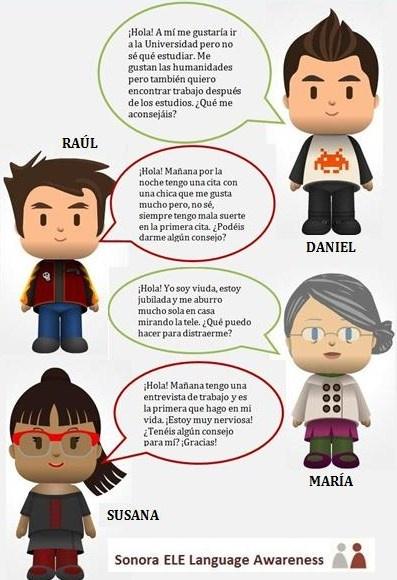 B1 - Aconseja a estas personas. Puedes ver la actividad completa aquí: http://onlinespanishteacherclara.blogspot.com.es/2013/05/un-buen-consejo-es-impagable.html