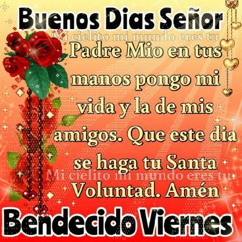 Buenos Días Señor Padre Mio en tus manos pongo mi vida y la de mis amigos … Que este día se haga tu Santa Voluntad … Amen. Bendecido Viernes !!!