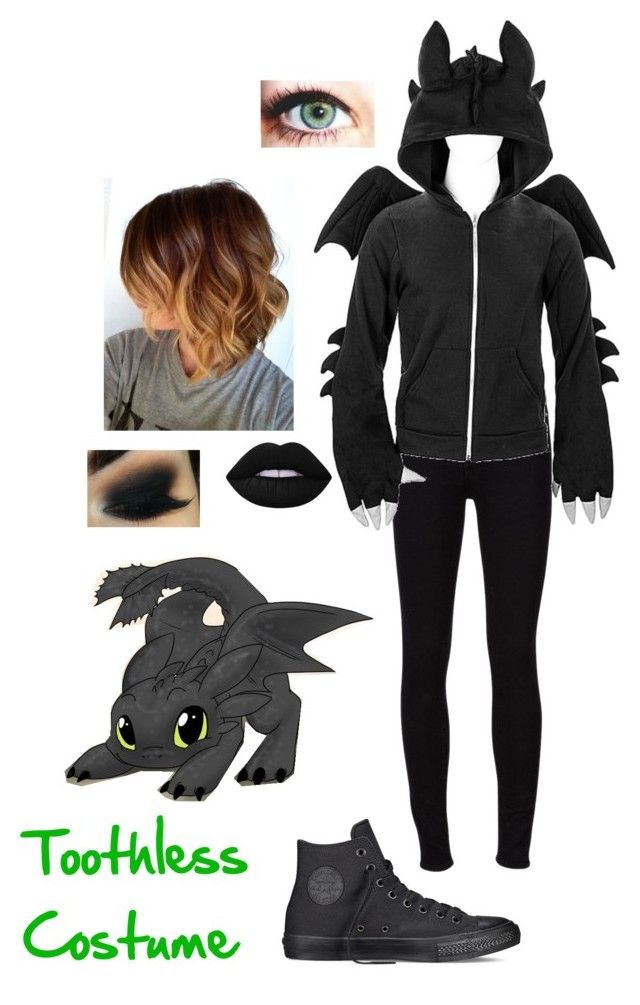"""""""Toothless Costume"""" by nerdgal13 ❤ liked on Polyvore featuring Frame Denim, Converse and Lime Crime"""