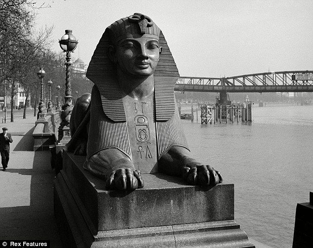 Two faux-Egyptian sphinxes cast from bronze sit either side of Cleopatra's Needle in London, and make up the most famous example of Egyptian architecture in Britain. It is situated on the Victoria Embankment on The Thames