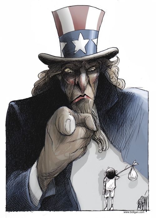 Uncle Sam: Send Immigrants Back. By Angel Boligan, El Universal, Mexico City, Cagle Cartoons