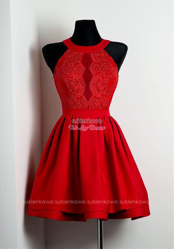 2d801f767c535a Sukienkowo.com - NELIA - Rozkloszowana sukienka z koronką czerwona,  dresses, sukienka na